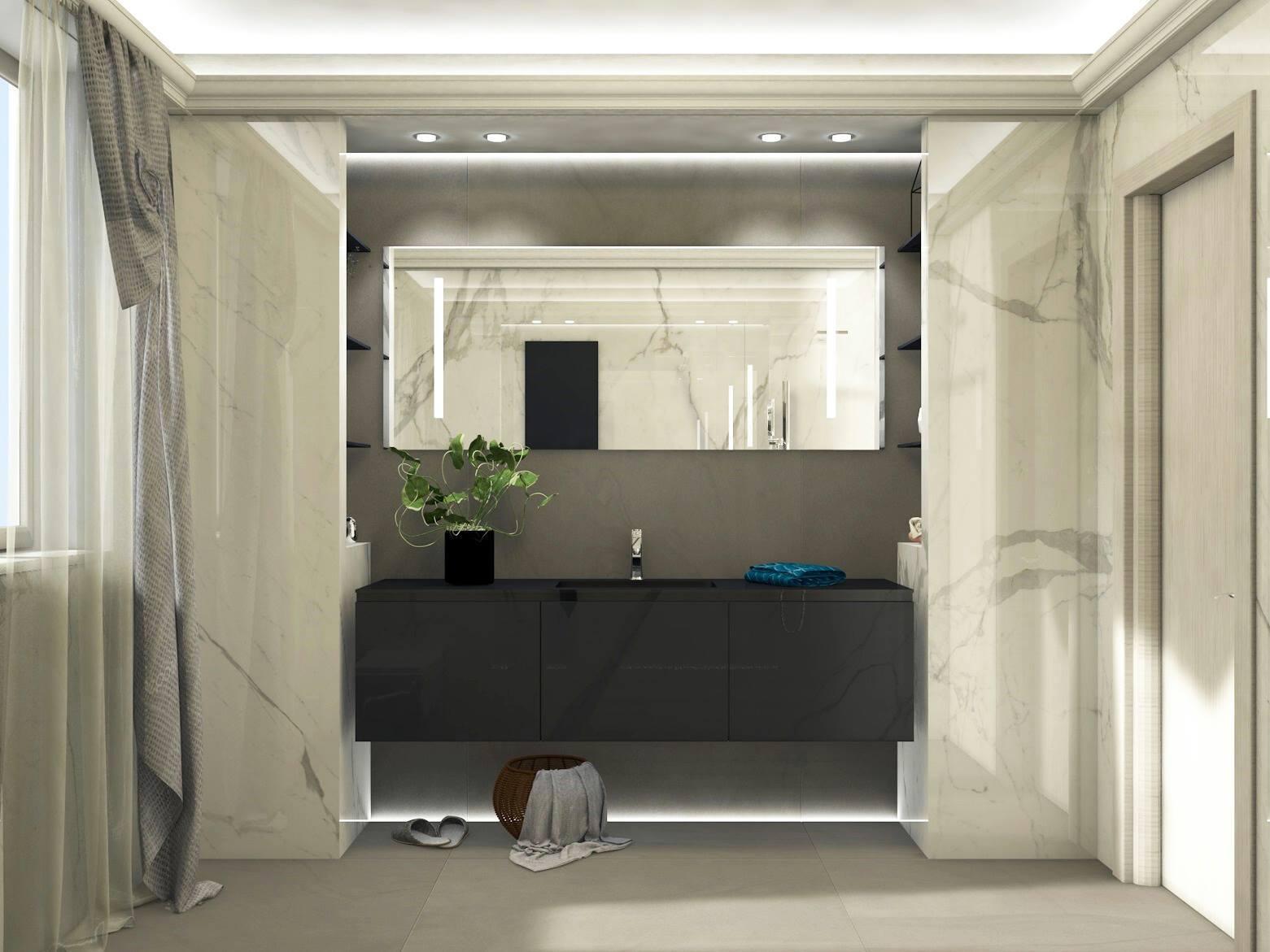 Bagno moderno ed elegante grandi lastre ed illuminazione for Progetti bagni moderni