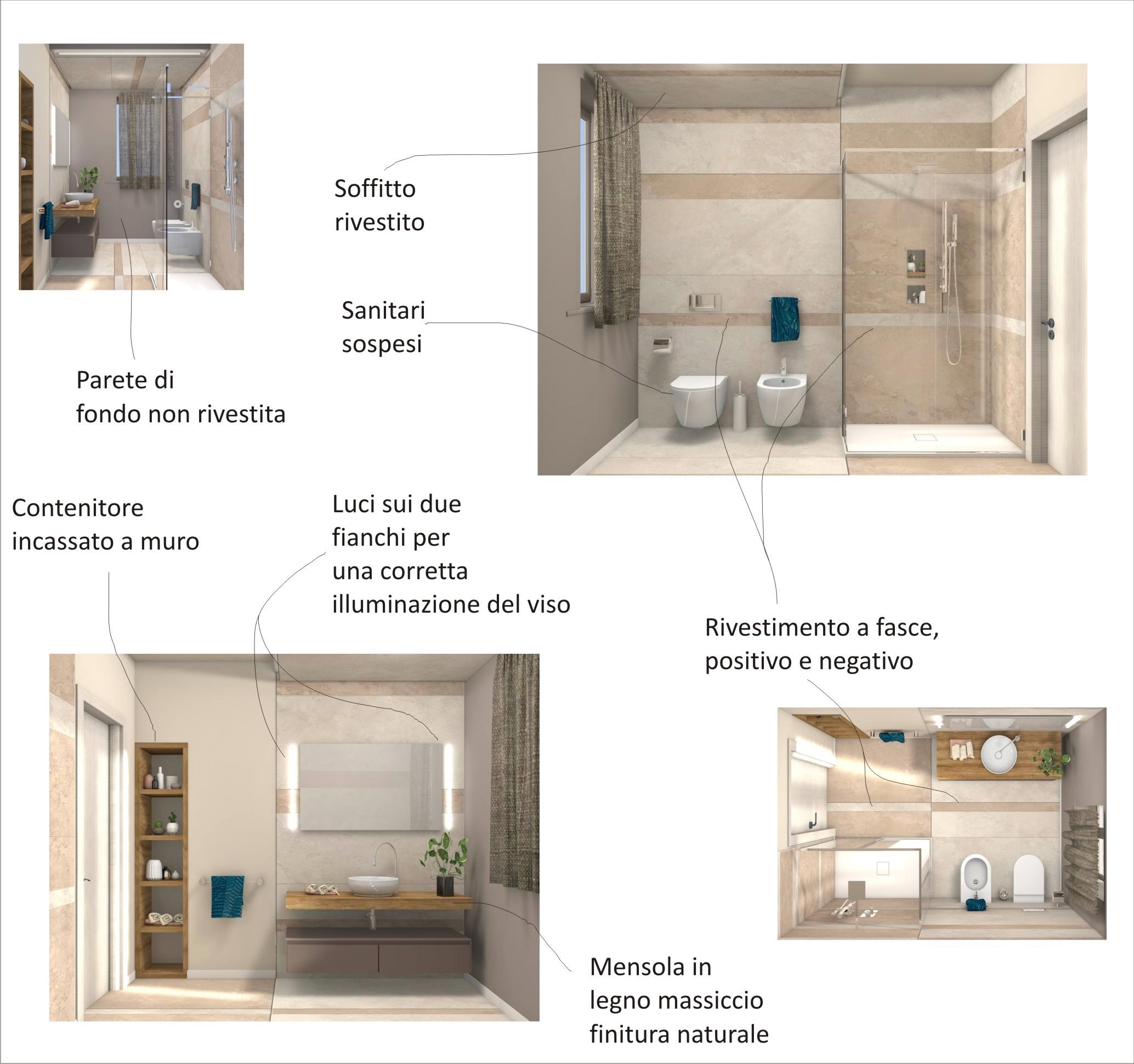 Bagno piastrelle ceramica anche a soffitto progetto - Progetto di un bagno ...