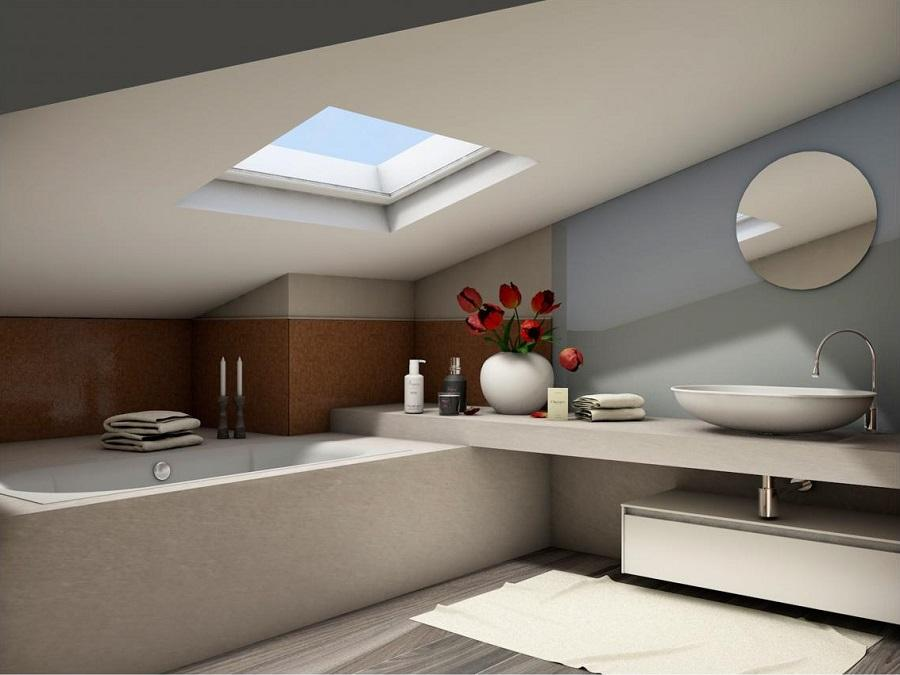 Illuminare bagno in mansarda illuminazione con soffitto in legno