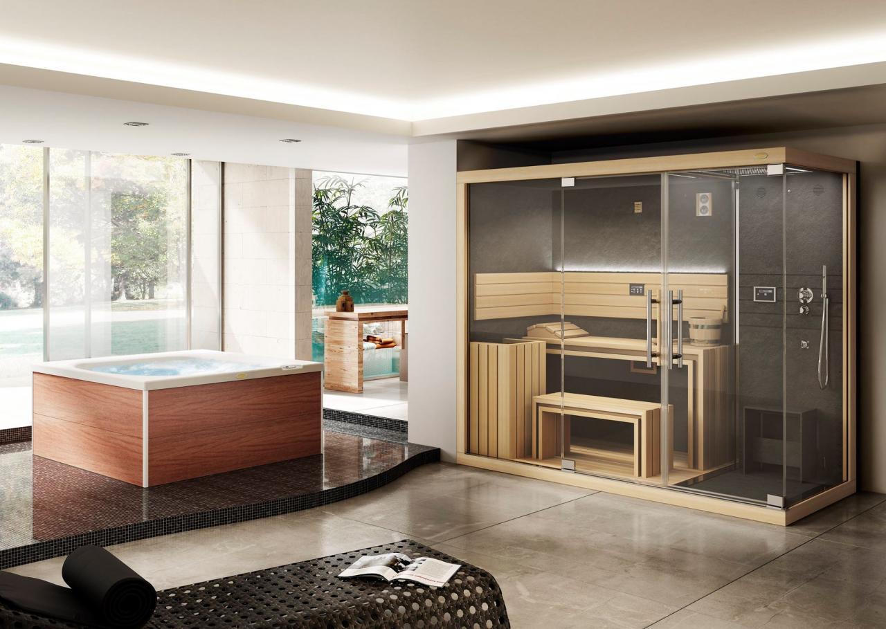 Sauna in legno e minipiscina Jacuzzi