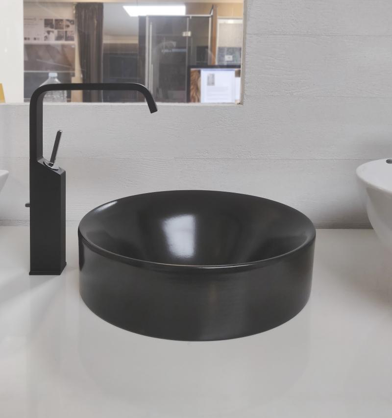 Lavabo da appoggio in ceramica nera prezzi outlet vicenza fratelli pellizzari - Rubinetteria bagno nera ...