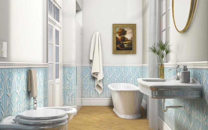 Boiserie in ceramica nel bagno moderno fratelli pellizzari - Rivestimento bagno classico ...