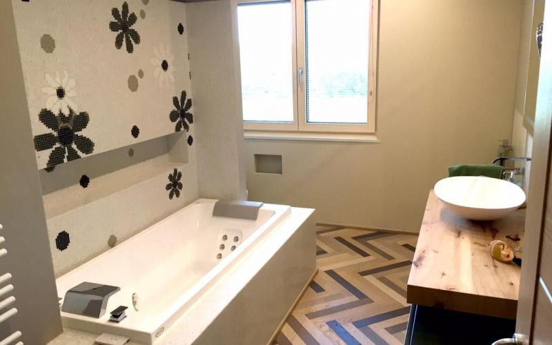 renovated bathroom modern colored wood mosaic decoration vicenza