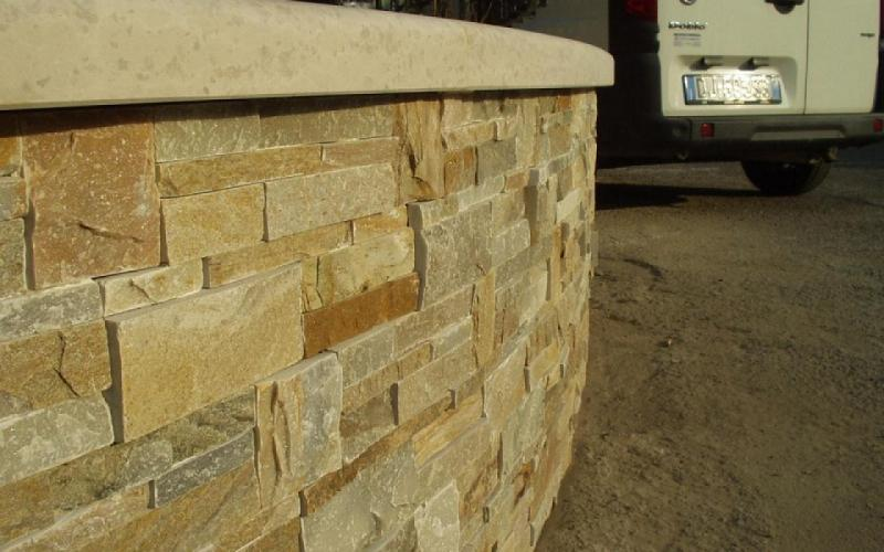 stone wall covering quarzite squared
