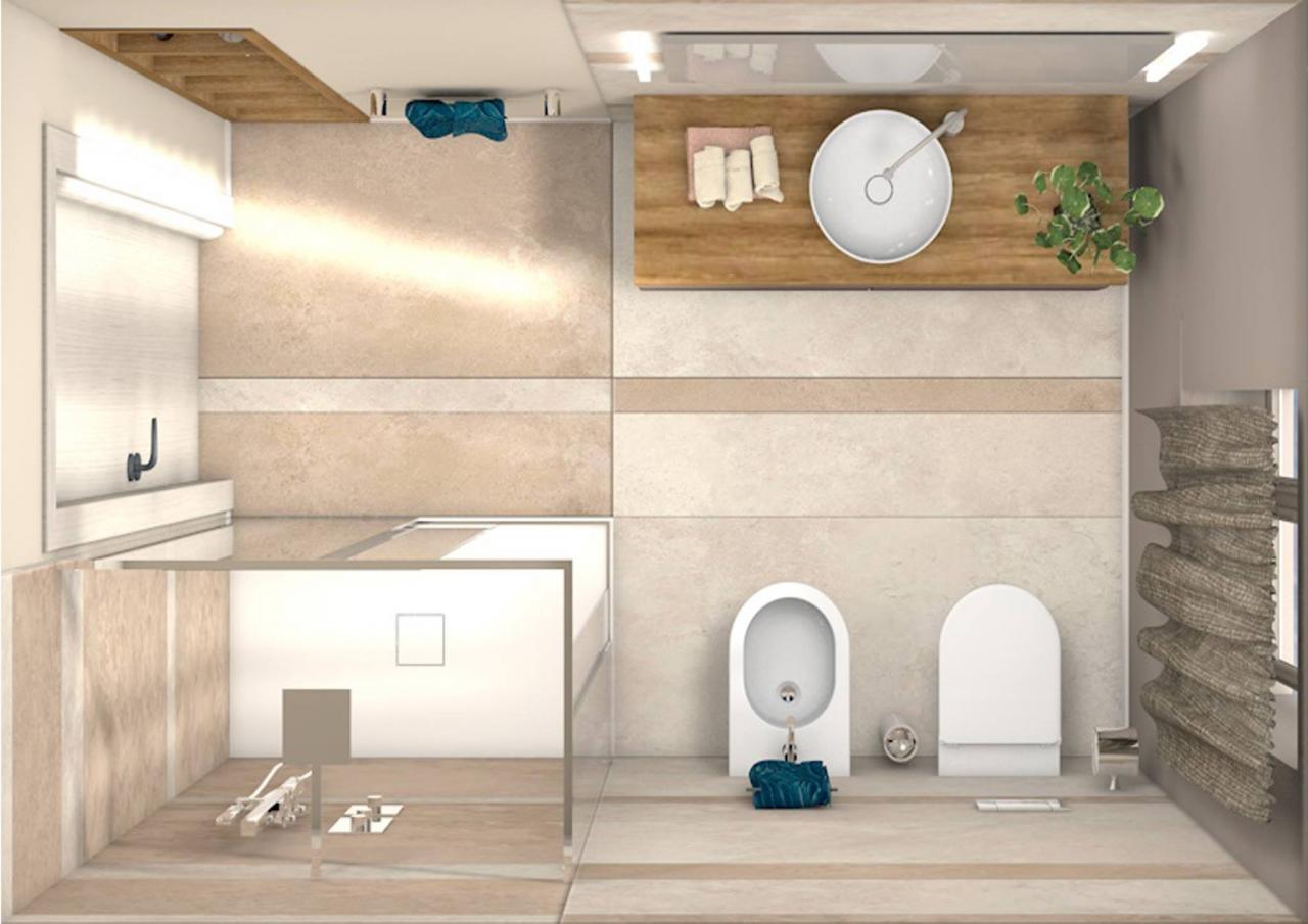 Bagno piastrelle ceramica anche a soffitto progetto - Profilo rivestimento bagno ...