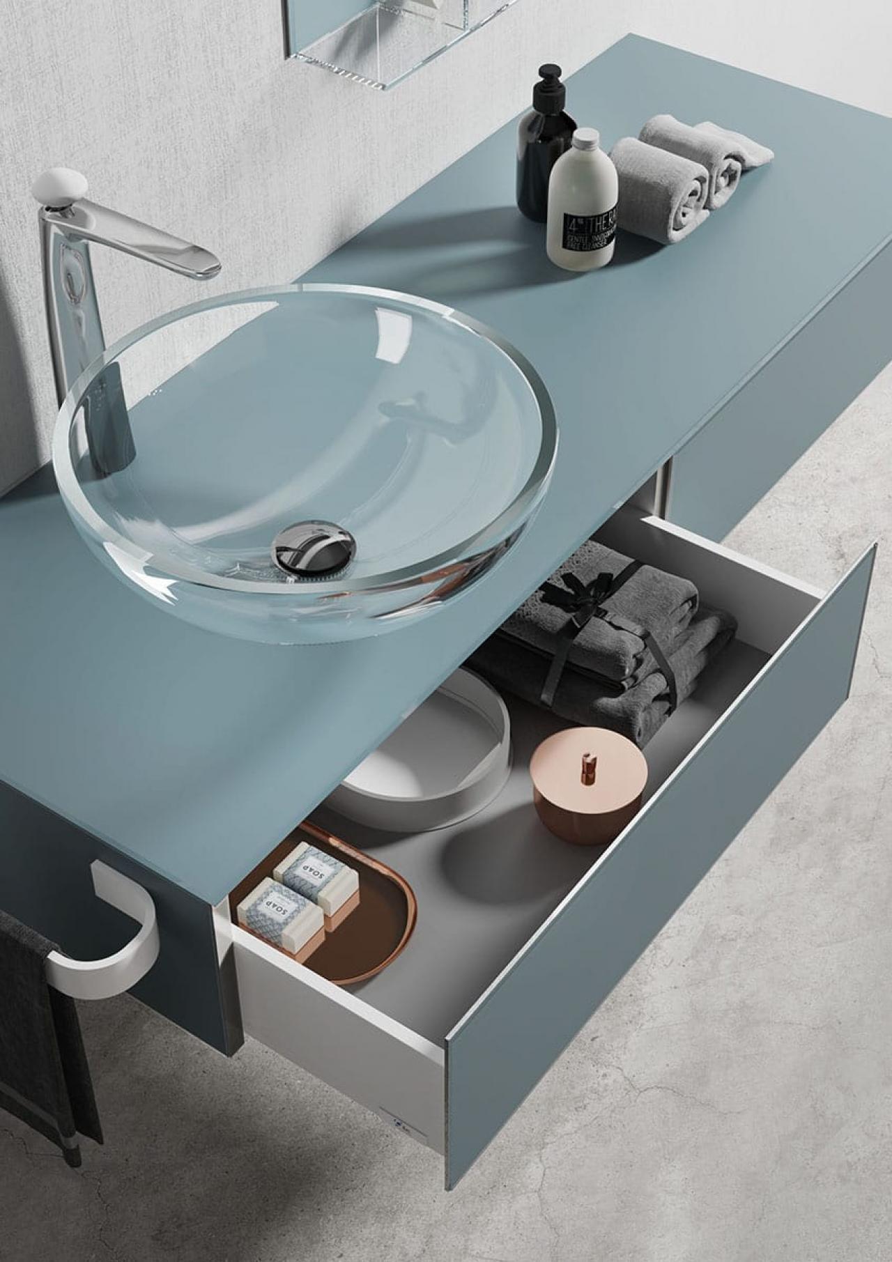 Il vetro nel bagno mobili box doccia accessori fratelli pellizzari - Bagno in vetro ...