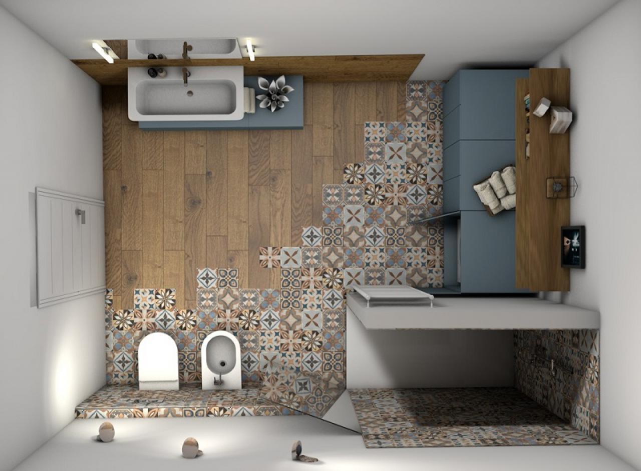 Bagno Moderno Legno E Cementine