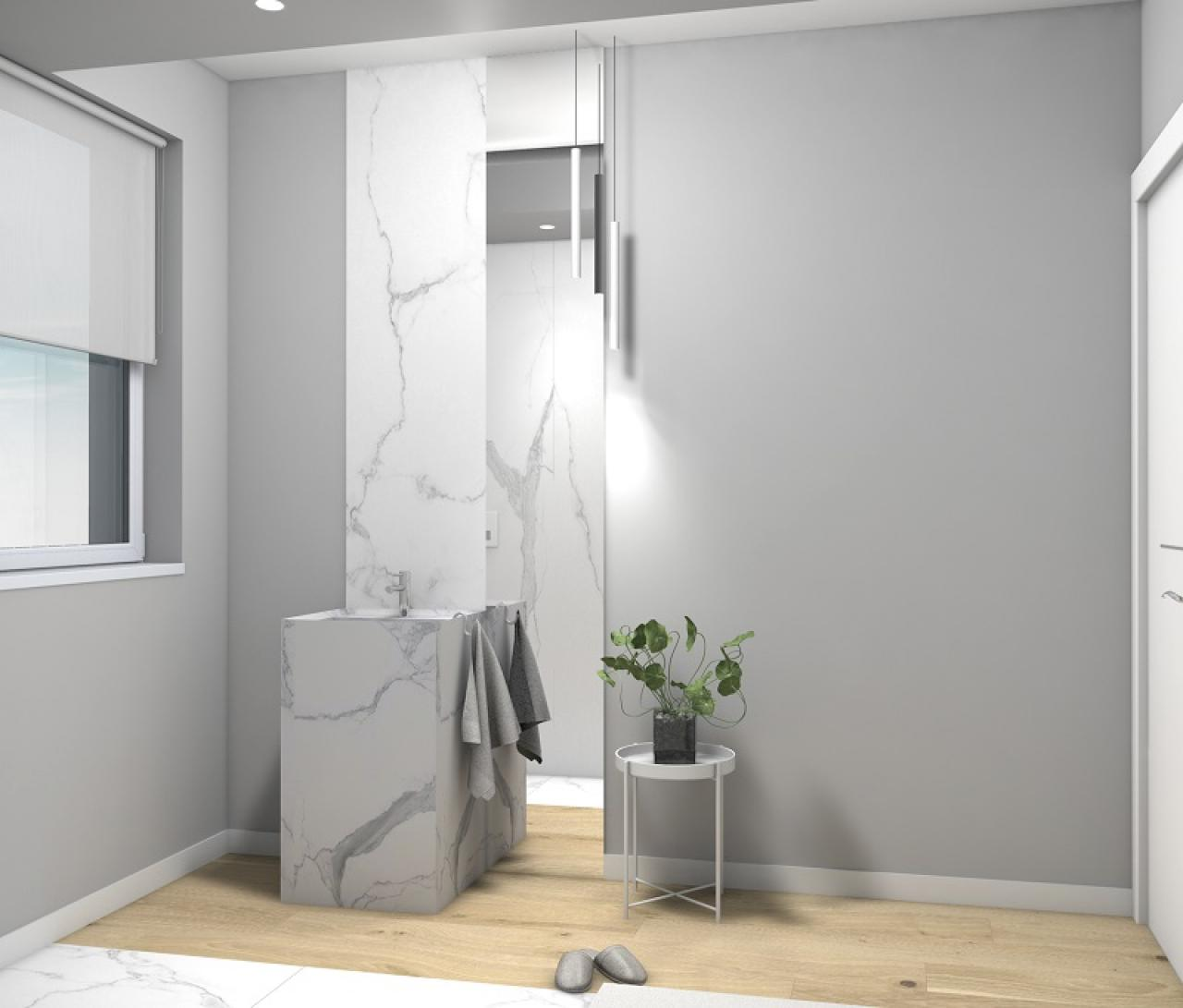 Progettare il bagno lo stile di giulia fratelli pellizzari - Bagno effetto marmo ...