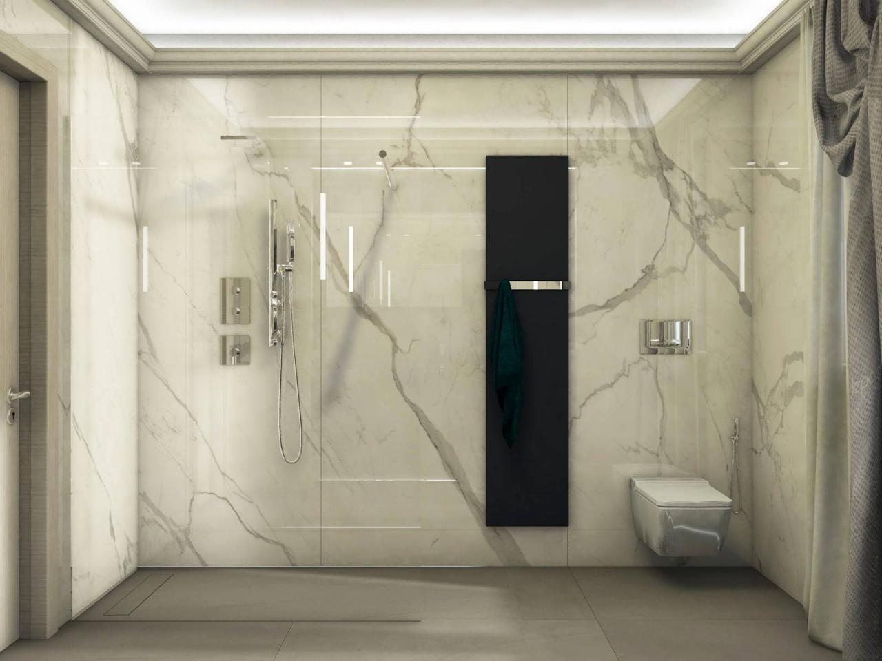 Bagno moderno ed elegante grandi lastre ed illuminazione
