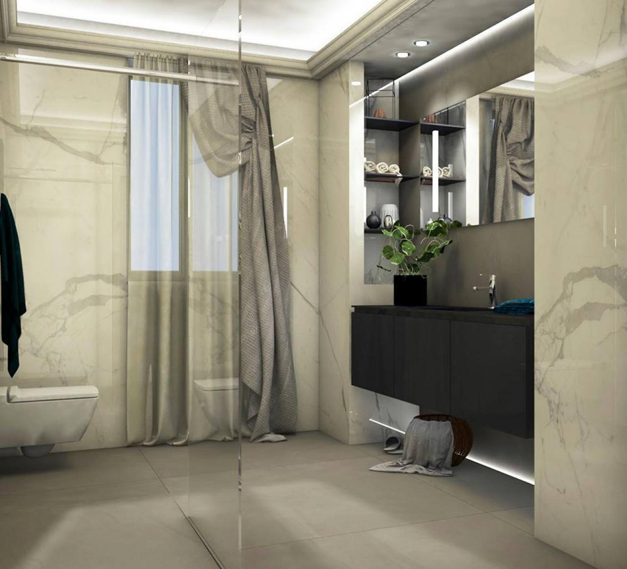 Bagno moderno ed elegante grandi lastre illuminazione for Arredatrice di interni