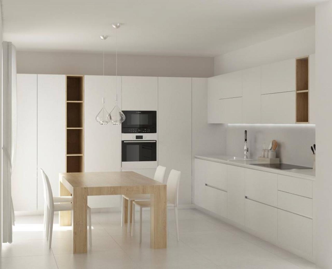 Cucina moderna tavolo separato o penisola fratelli - Cucina bianca e legno ...