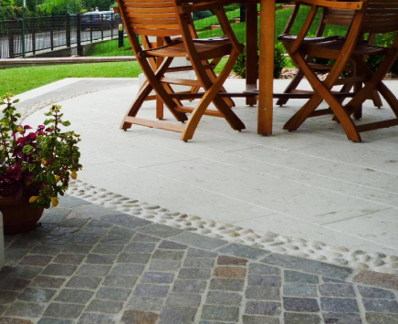 Trendy costo pavimenti per esterni porfido pavimenti - Costo intonaco esterno colorato ...